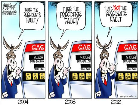 cartoon high gas prices bush verses obama